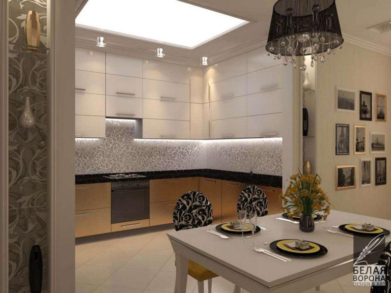 дизайн интерьера столовой в современном стиле с мягкими контрастами