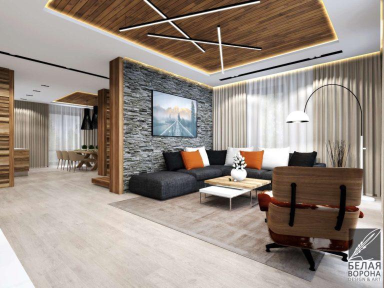 дизайн интерьера комнаты в с применением цветовых акцентов Обустройство гостинной комнаты по дизайнерскому интерьеру