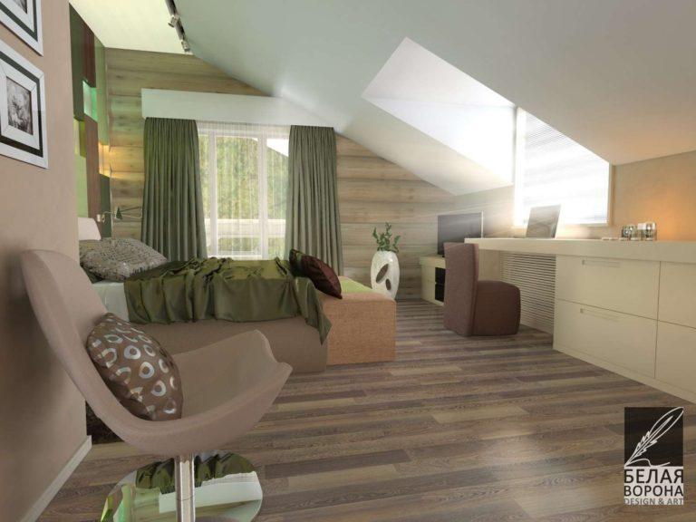 Спальня выполненная в дизайн-проекте современного интерьера с оттенками зелёного