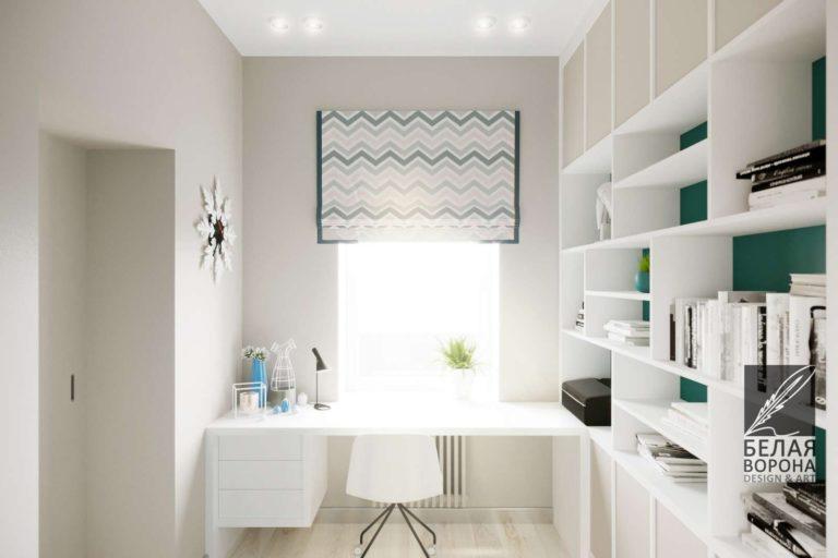 Дизайн кабинета. Рабочая зона в светлых тонах