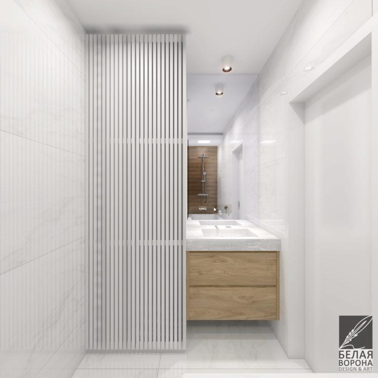 дизайн проект ванной в светлых тонах