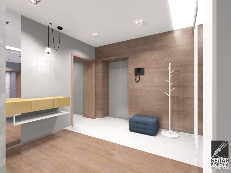 дизайн интерьера холла в светлых тонах в сочетании с фактурой дерева