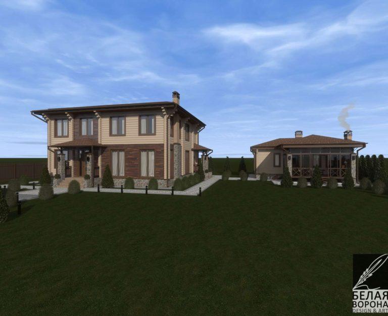 дизайн проект экстерьера дома из клееного бруса