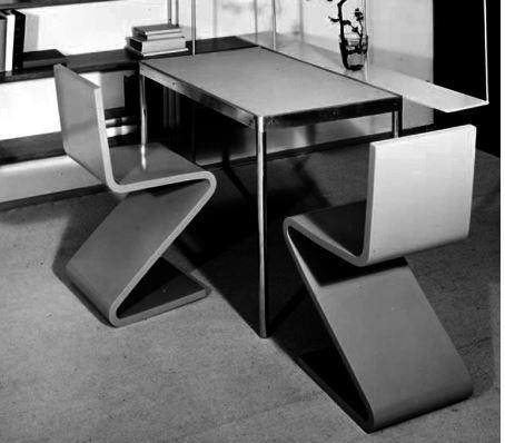 Стул Зиг-заг в интерьере столовой. мебель стиля баухаус
