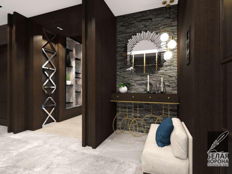 Дизайн интерьера прихожей в тёмных тонах. светлая мебель в тёмном интерьере