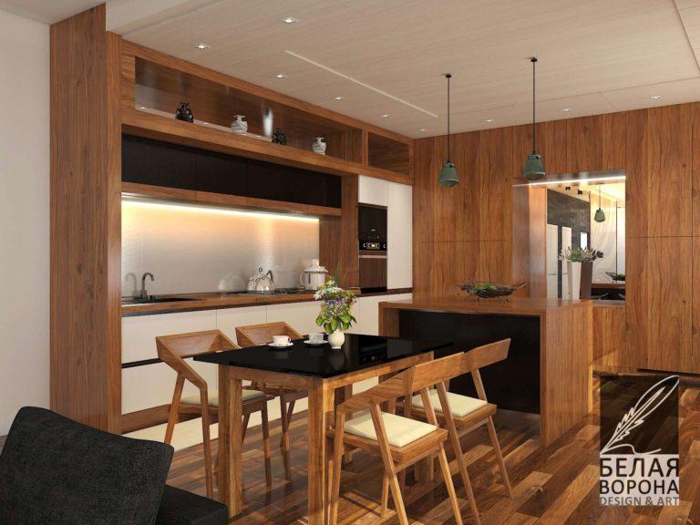 дизайн-проект столовой зоны совмещённой с кухней в современном интерьере
