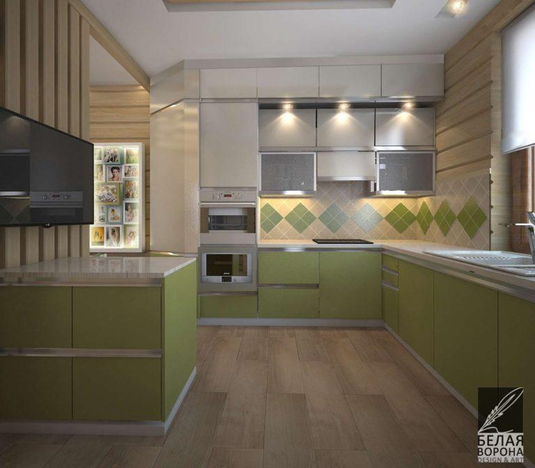 дизайн интерьера кухни в с применением цветовых акцентов
