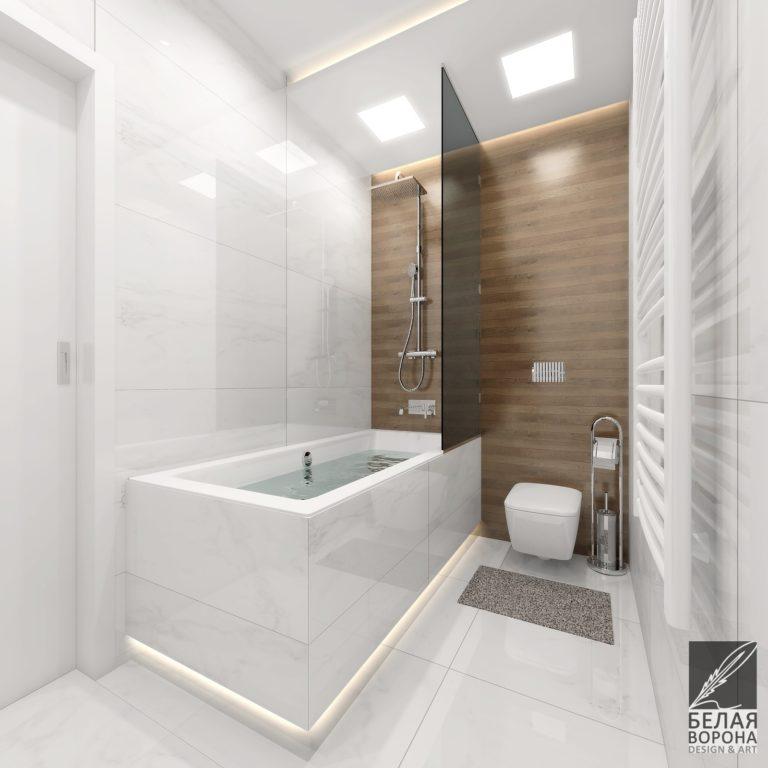 Монохромный интерьер в ванной комнате дизайн-проект ванной комнаты