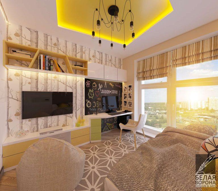 дизайн проект спальни в современном стиле светлые тона яркие акценты большие окна в дизайн-проекте