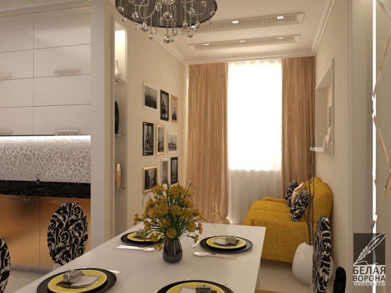 дизайн проект кухни в с применением цветовых акцентов Кухня совмещённая со столовой