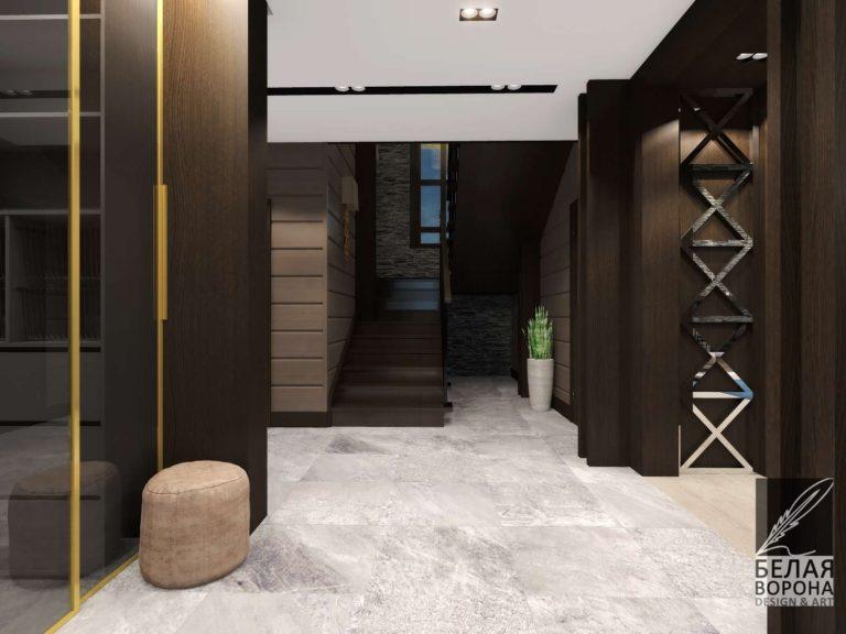Дизайн-проект прихожей Тёмная дверь со стеклянными вставками