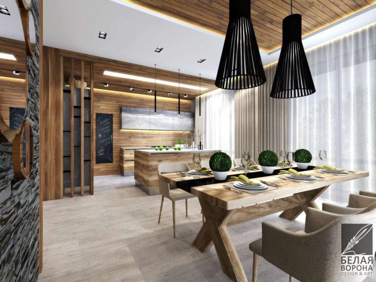 дизайн интерьера кухни в современном стиле в с применением дерева в отделке