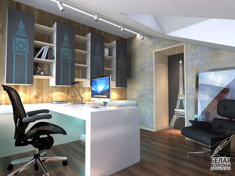 Рабочее пространство с деревянными элементами в отделке