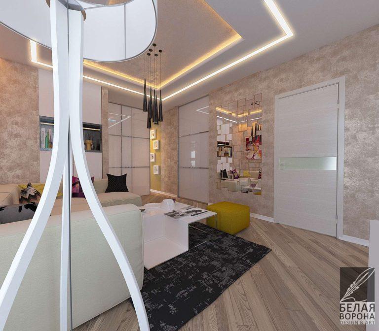 дизайн проект лоджии совмещённой с гостинной в светлых тонах