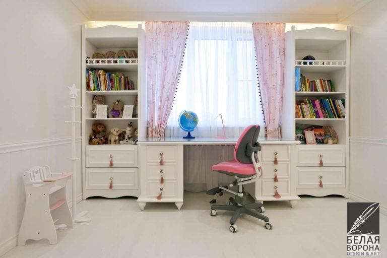 дизайн интерьер рабочего пространства спальни в с применением элементов пастельных тонов