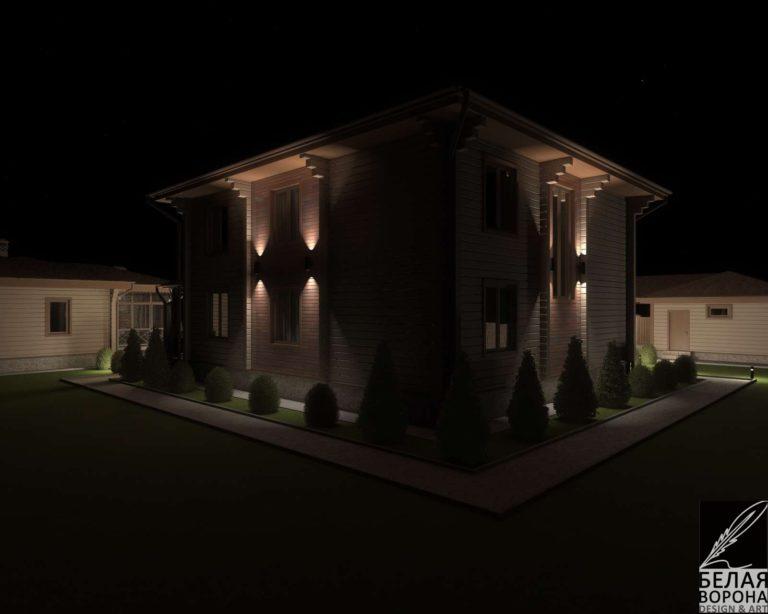 дизайн экстерьера дома в светлых тонах в ночном освещении