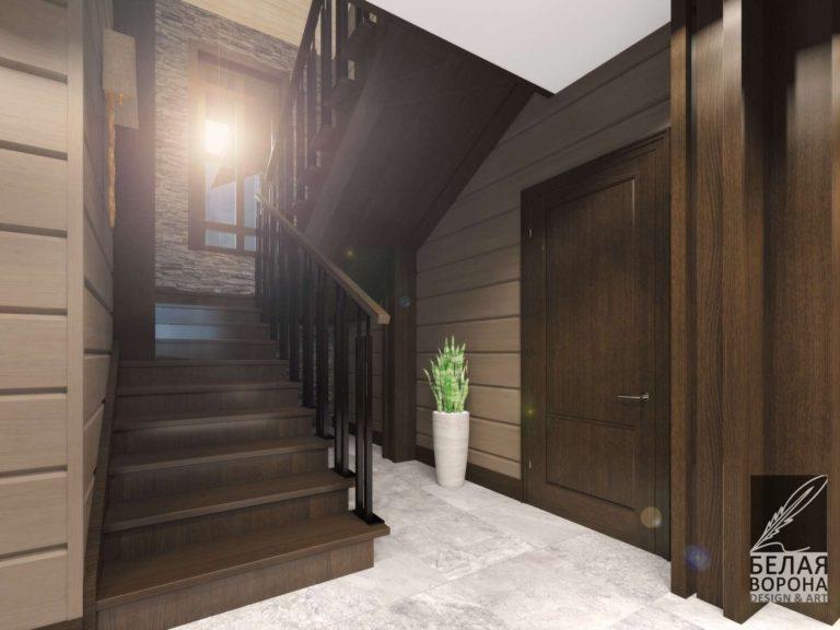 Дизайнерский проект лестницы в тёмных тонах в интерьере