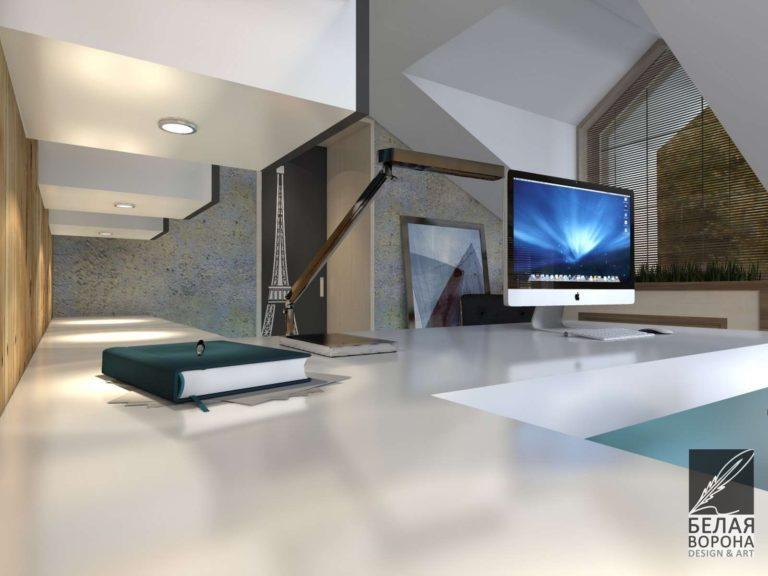 Мебель для рабочей зоны в дизайнерском интерьере