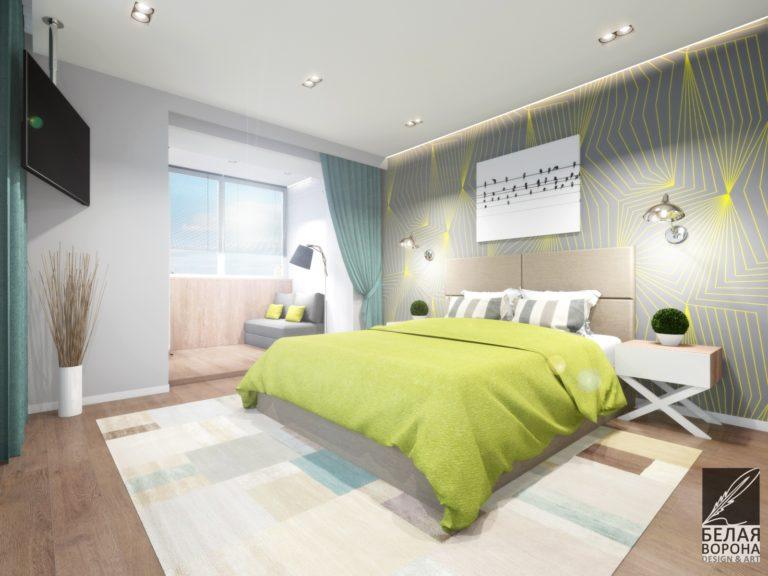 дизайн проект спальни в с применением цветовых акцентов