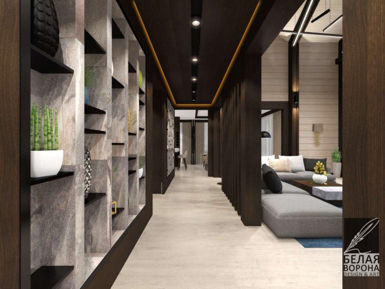 дизайн интерьера коридора в с применением цветовых акцентов