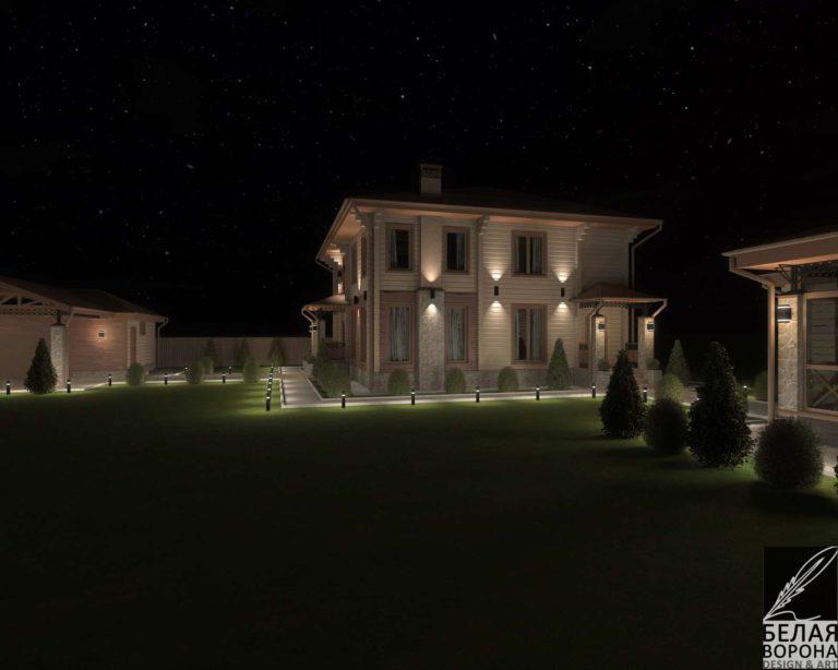дизайн проект дома из бруса в современном стиле с подсветкой