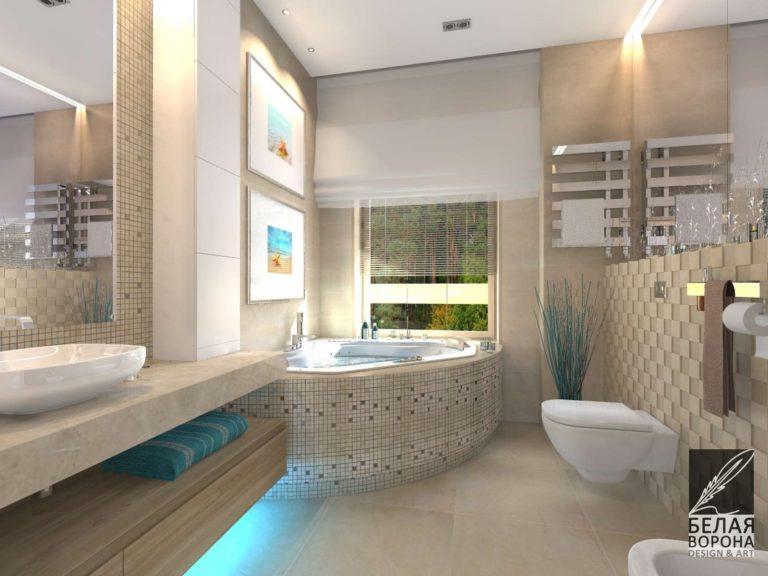 дизайн интерьера ванной комнаты с применением цветовых акцентов