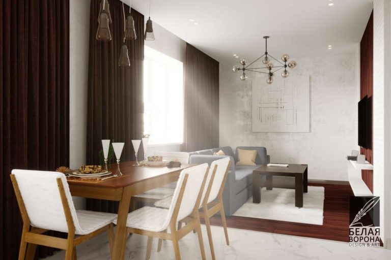 Столовая совмещённая с гостинной. В качестве контраста применены элементы в глубоком бардовом оттенке