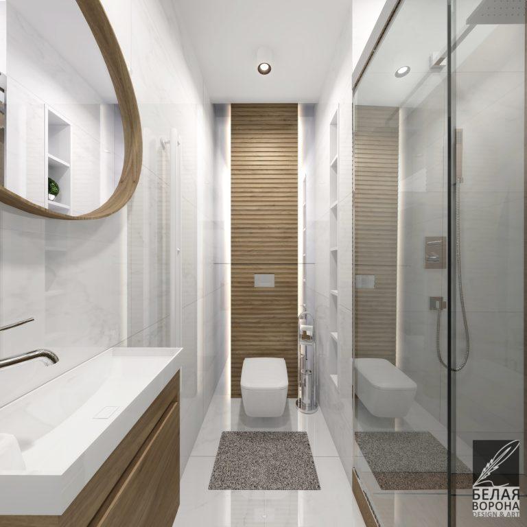 дизайн проект ванной в современном стиле монохромное сочетание цветов