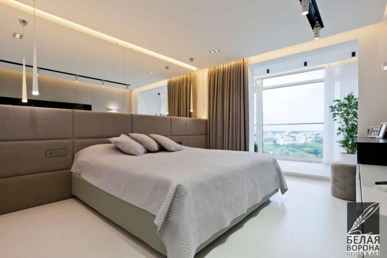 дизайн интерьер спальни в с применением резкого контраста