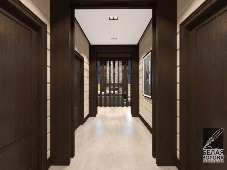 дизайн интерьера коридора с применением цветовых акцентов