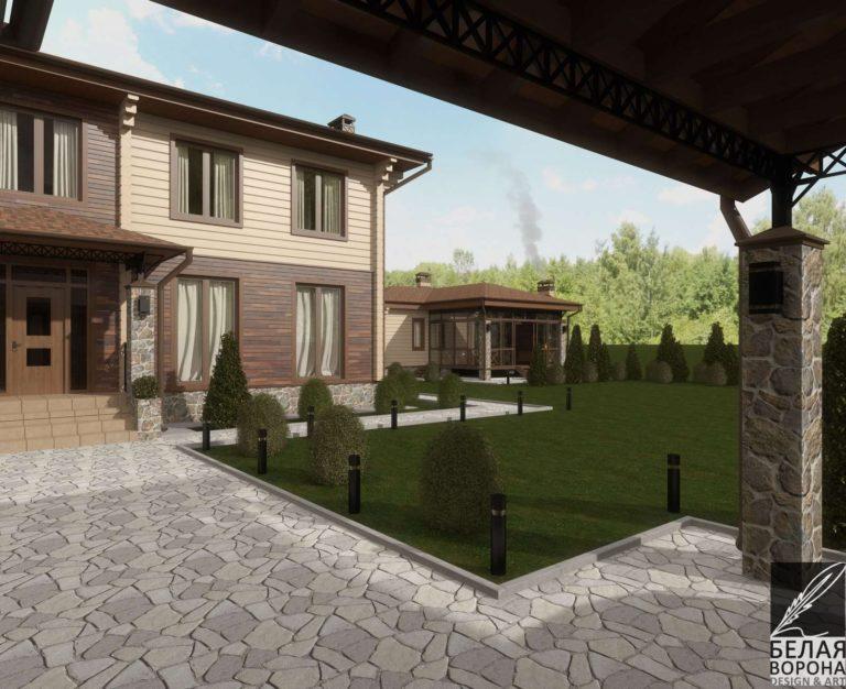 дизайн экстерьера дома из клееного бруса в с применением цветовых акцентов