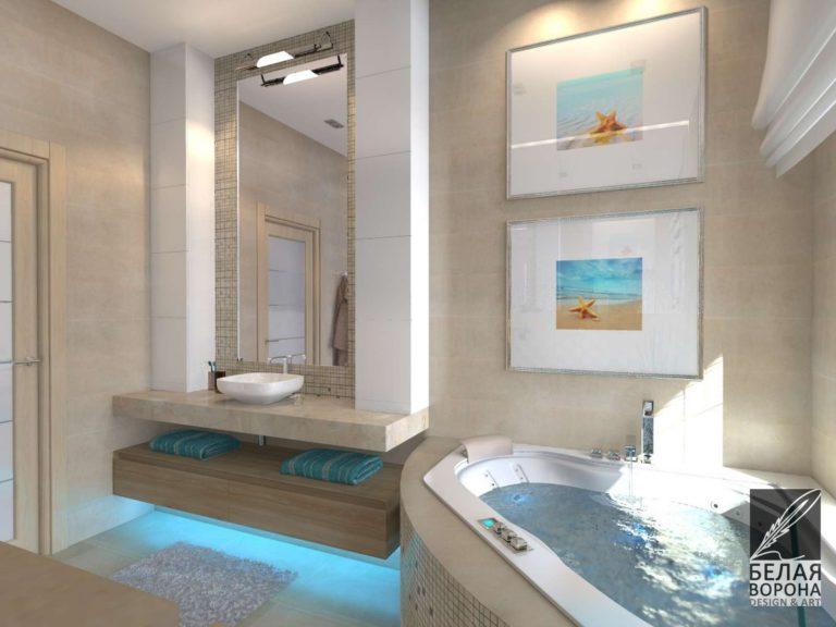 Интерьер ванной комнаты выполненной в светлых тонах с яркими цветовыми элементами и подсветкой