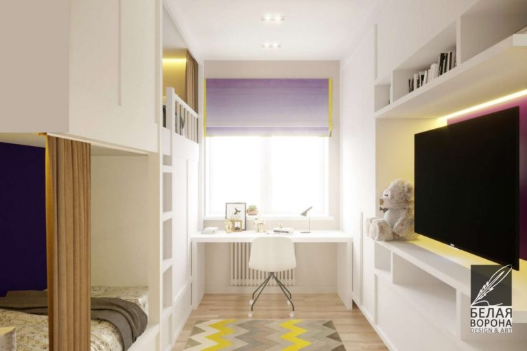 Рабочее пространство спальни в светлых тонах с яркими цветовыми акцентами