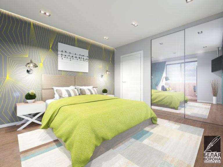 дизайн интерьера комнаты в с применением цветовых акцентов и декоративных элементов