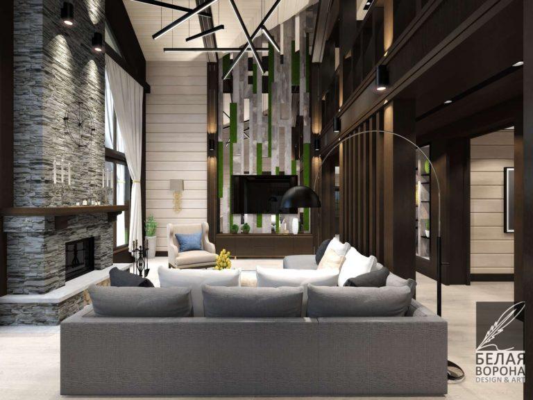 Гостинная в современном доме в светлых тонах