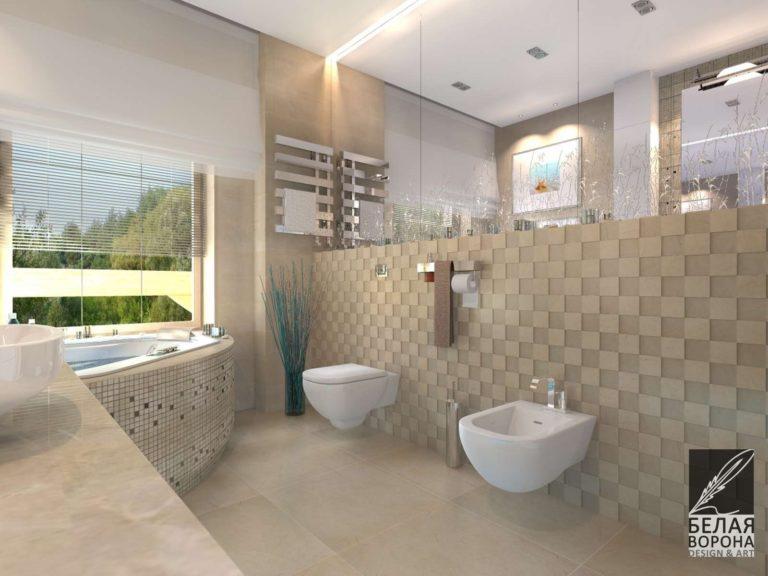 Ванная комната совмещённая с туалетом. Дизайнерский проект светлой ванной комнаты в современном интерьере