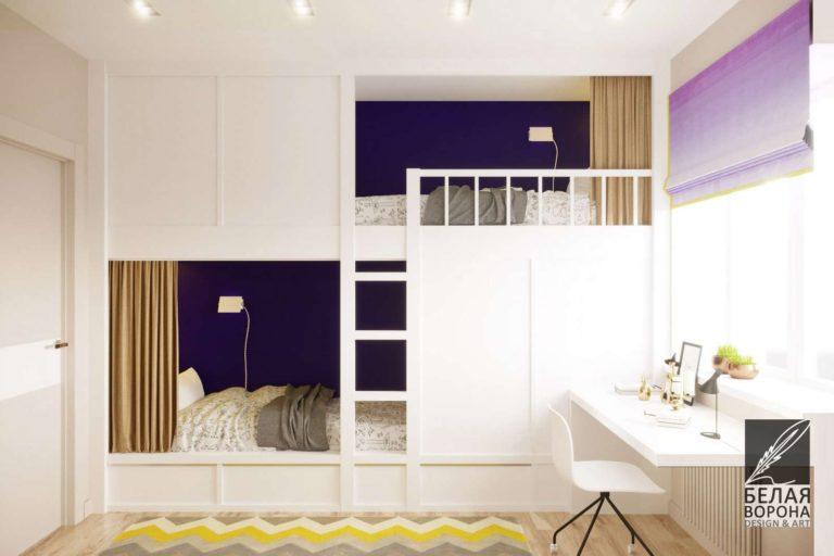 Спальные места для двух человек, встроенные места для хранения вещей