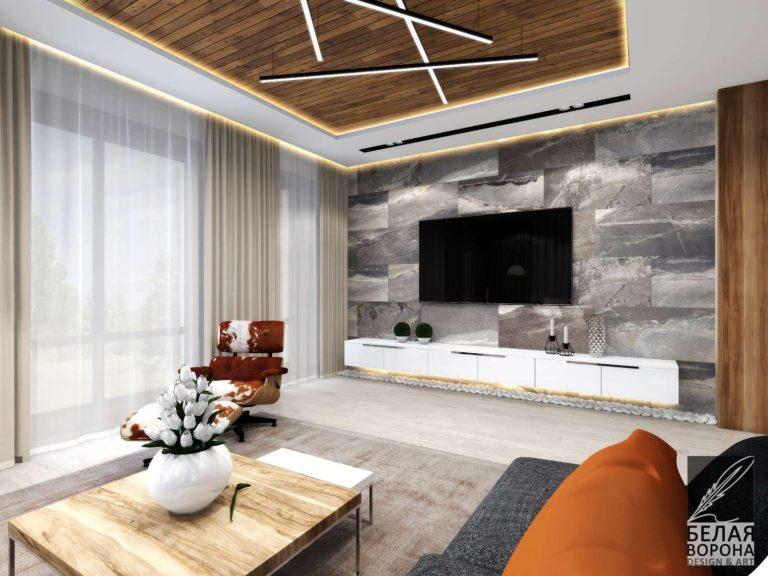 Элементы стильного дизайнерского интерьера гостиной сочетание цвета и фактур