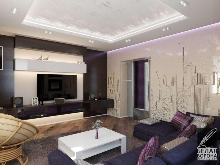 дизайн интерьера гостиной в с применением цветовых акцентов и различных фактур