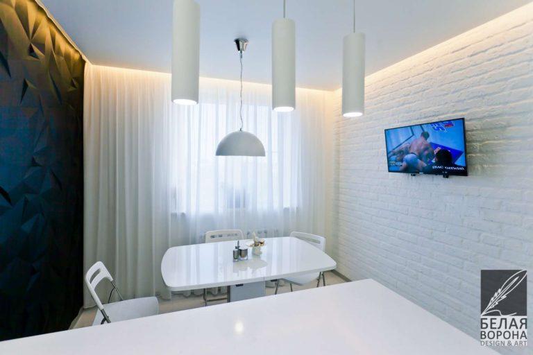 дизайн интерьер столовой в контраста тёплых и холодных тонов