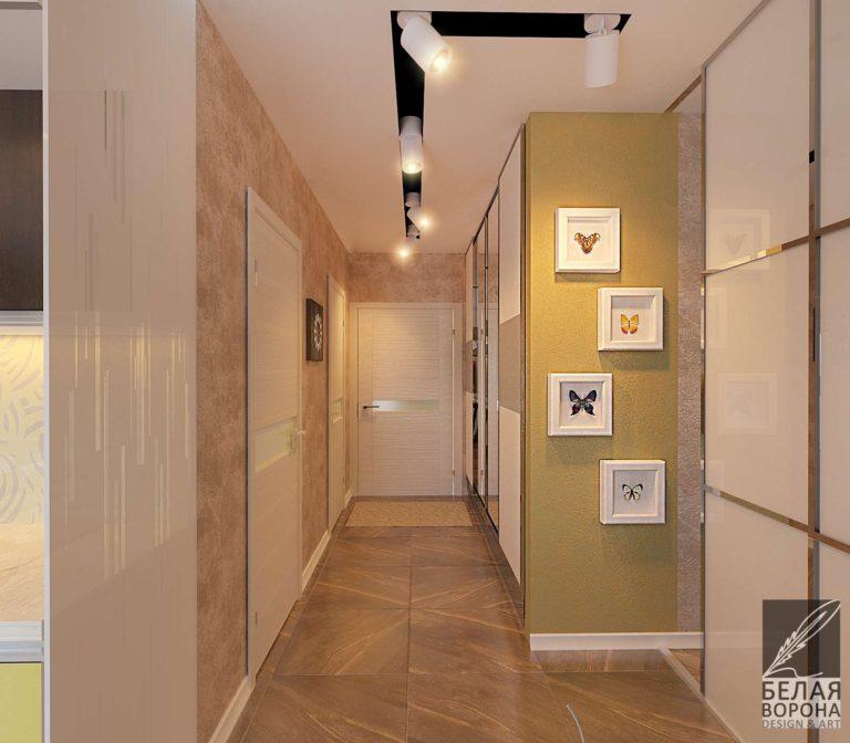 дизайн интерьера холла в светлых тонах с яркими цветовыми акцентами
