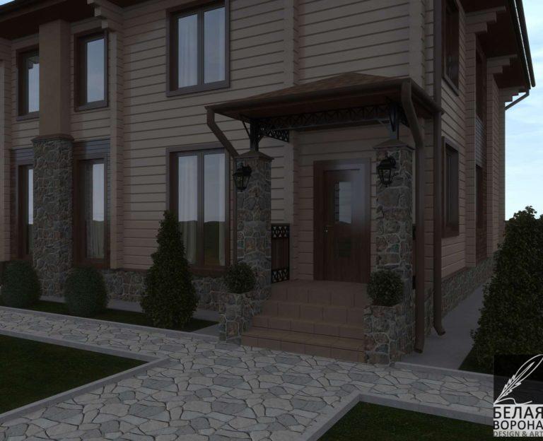 дизайн экстерьере экстерьера дачного дома из клееного бруса