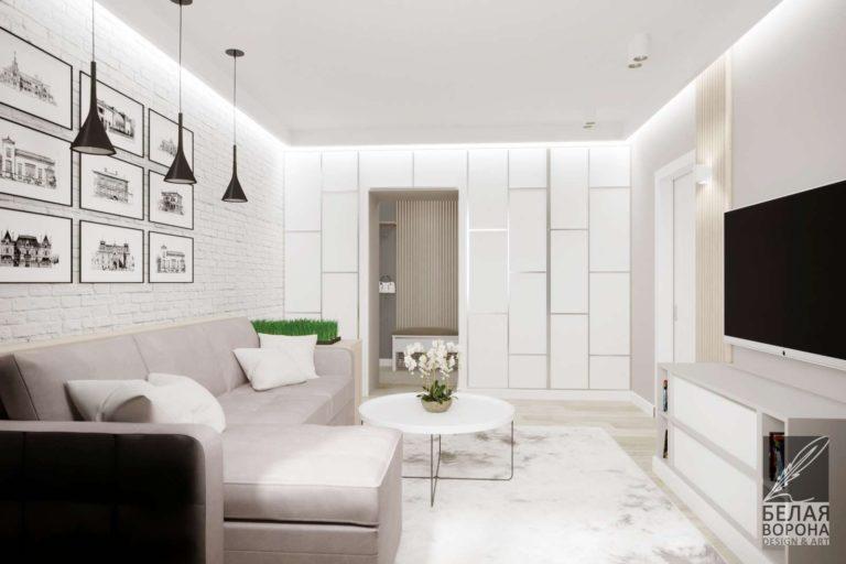 дизайн интерьер комнаты в светлых тонах гостинная в стиле лофт
