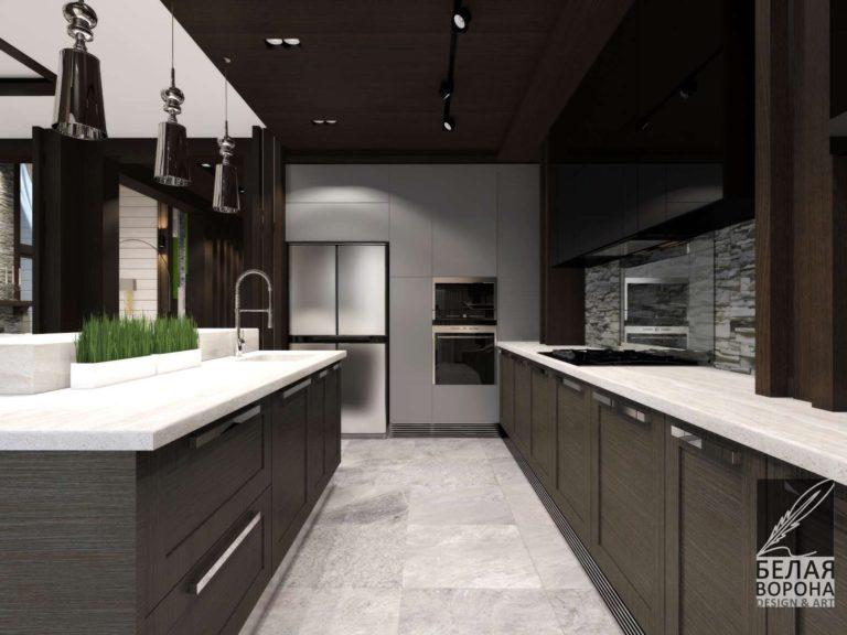 Дизайн-проект кухни в тёмных тонах в современном интерьере