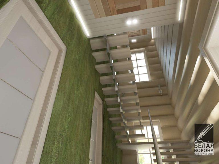Интерьер лестницы с применением оттенка зелёного и натуральных материалов в отделке