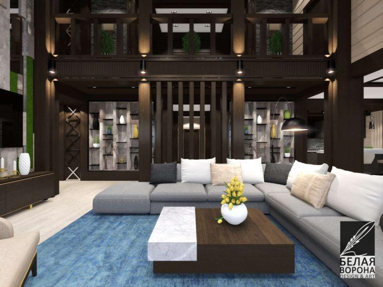 дизайн проект гостиной в тёмных тонах с применением цветовых акцентов