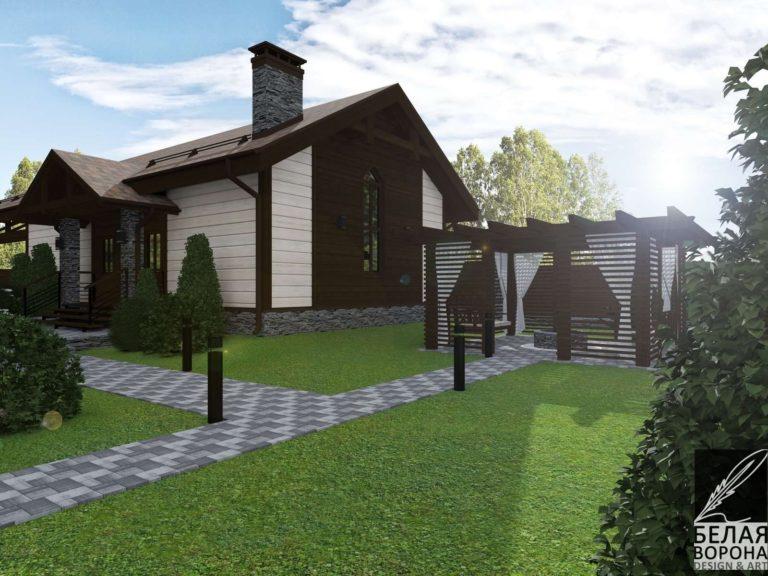 дизайн проект фасада экстерьера дачного дома