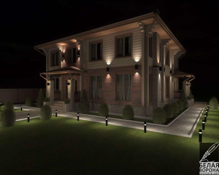 дизайн проект дома из бруса в светлых тонах