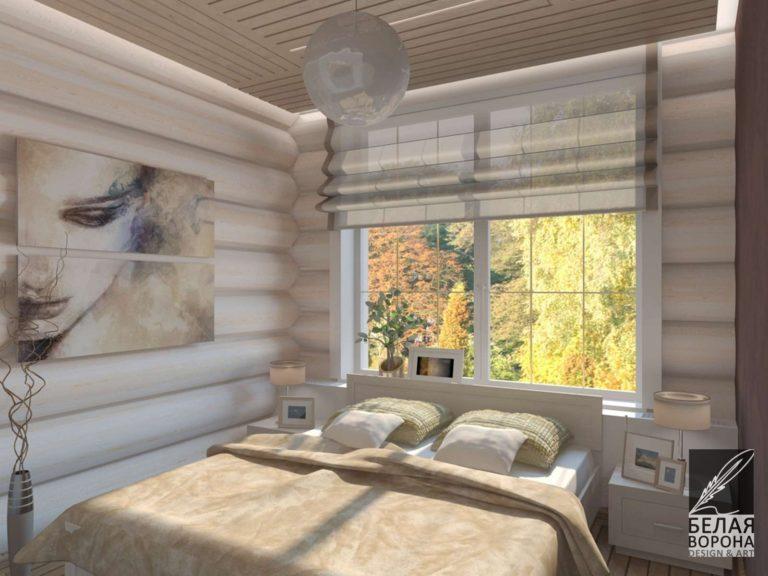 Спальня выполненная с применением элементов из натурального дерева в отделке