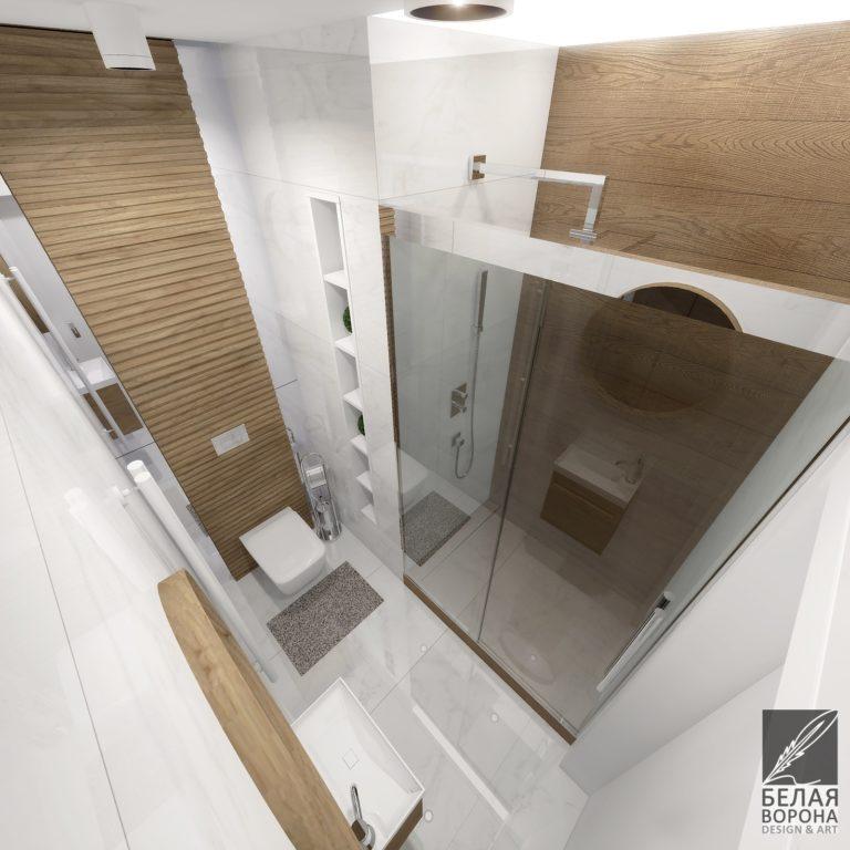 Сочетание фактуры и монохромного интерьера в современной ванной комнате